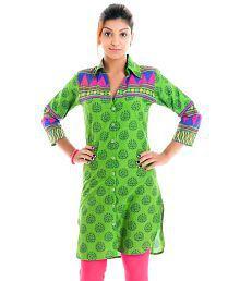 Naksh Jaipur Printed Shirt Style Green Straight Kurta