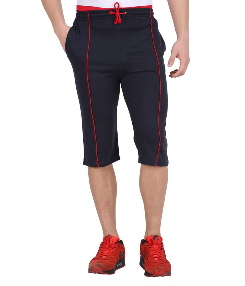 Checkersbay Navy Cotton 3/4th Shorts
