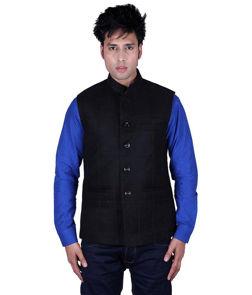Aurah Black Semi-formal Cotton Blend Waistcoats