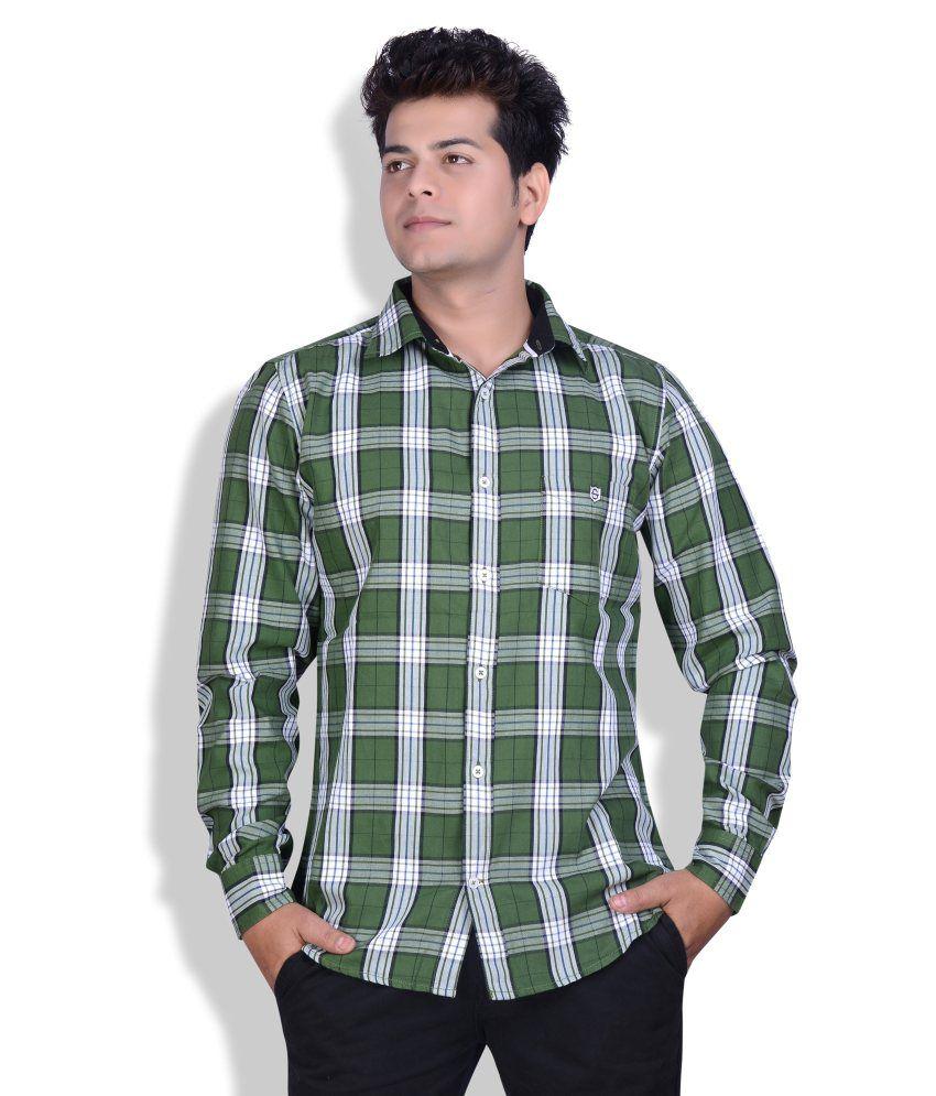 Speak Green Broad Twill Cotton Checks Casual Shirt