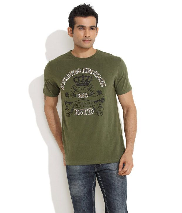 Scullers Olive green Heritage T-Shirt