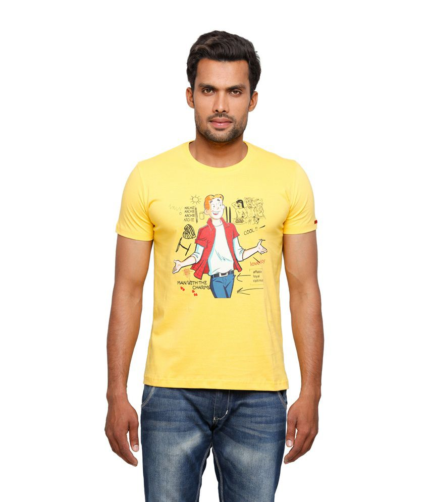 Archie Yellow Printed Cotton Round Neck Half Sleeves Men Tshirt