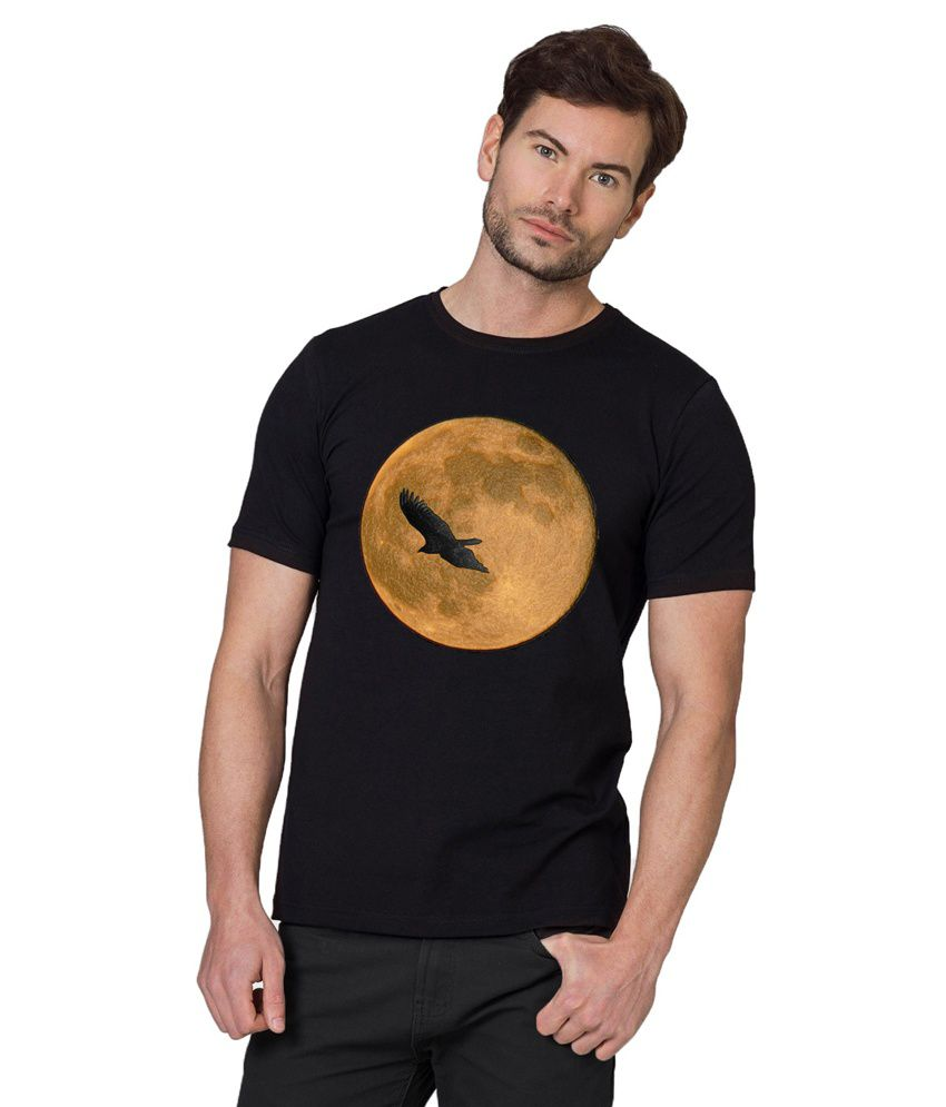 Chillum Black Cotton Eagle Moon Printed T-shirt