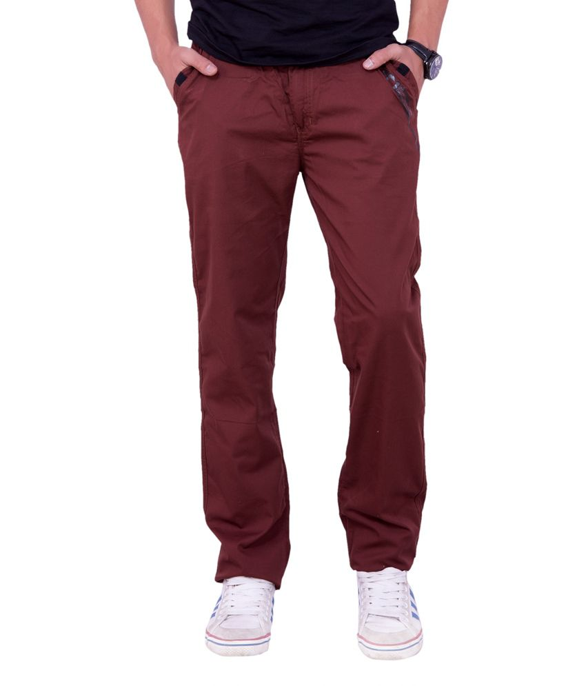Origin Smart Red Casual Elastic Patterned Cotton Trouser For Men  -  9833_Red