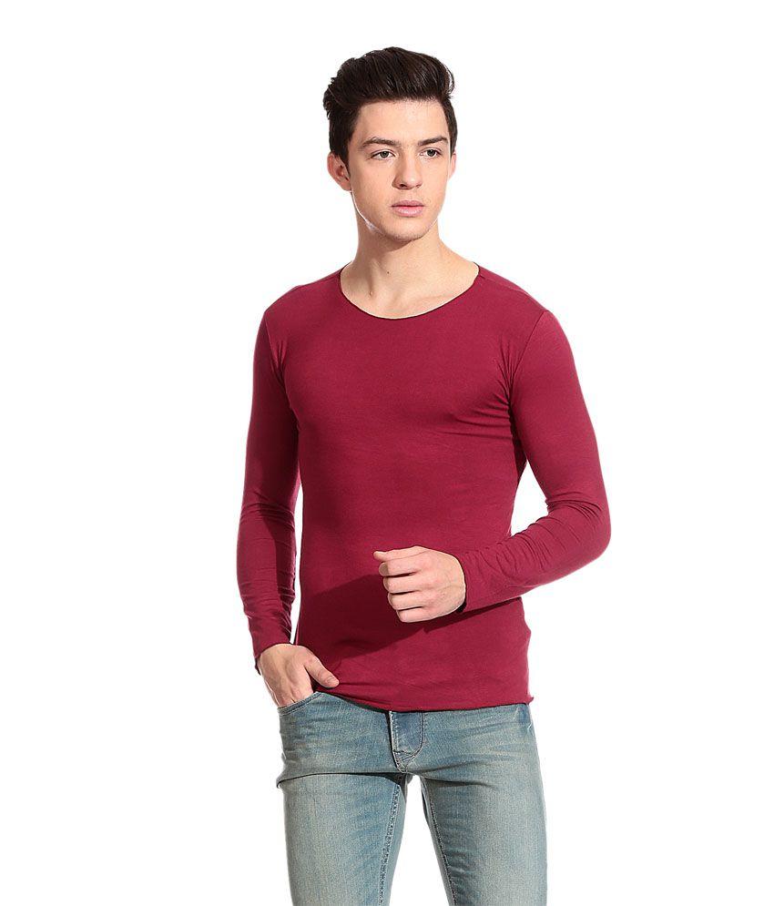 Tinted Maroon Cotton Blend Men's T Shirt