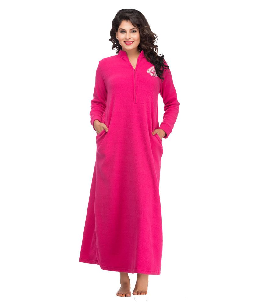 Private Lives Pink Solid Polar Maxi Nighty