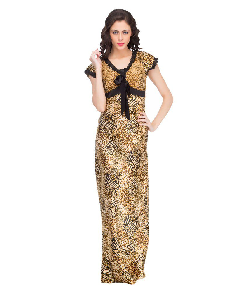 Buy Private Lives Yellow Tiger Print Satin Maxi Nighty Online at