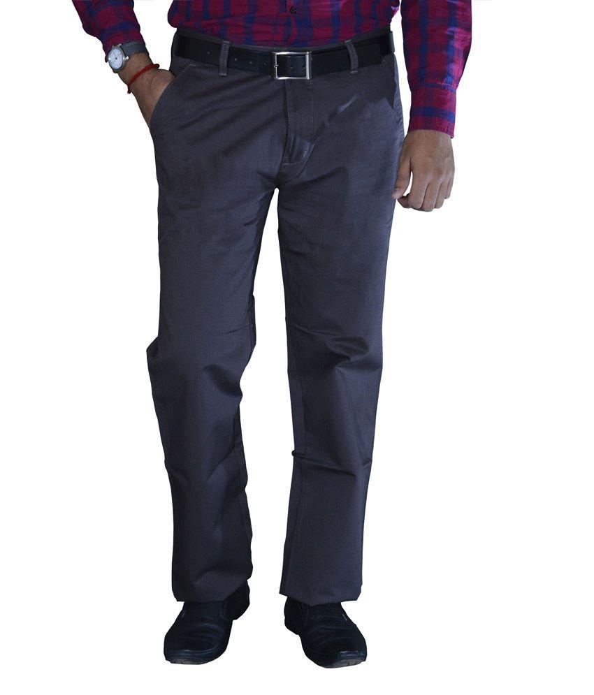 Studio Nexx Charcoal Gray Cotton Chinos Men's Trouser