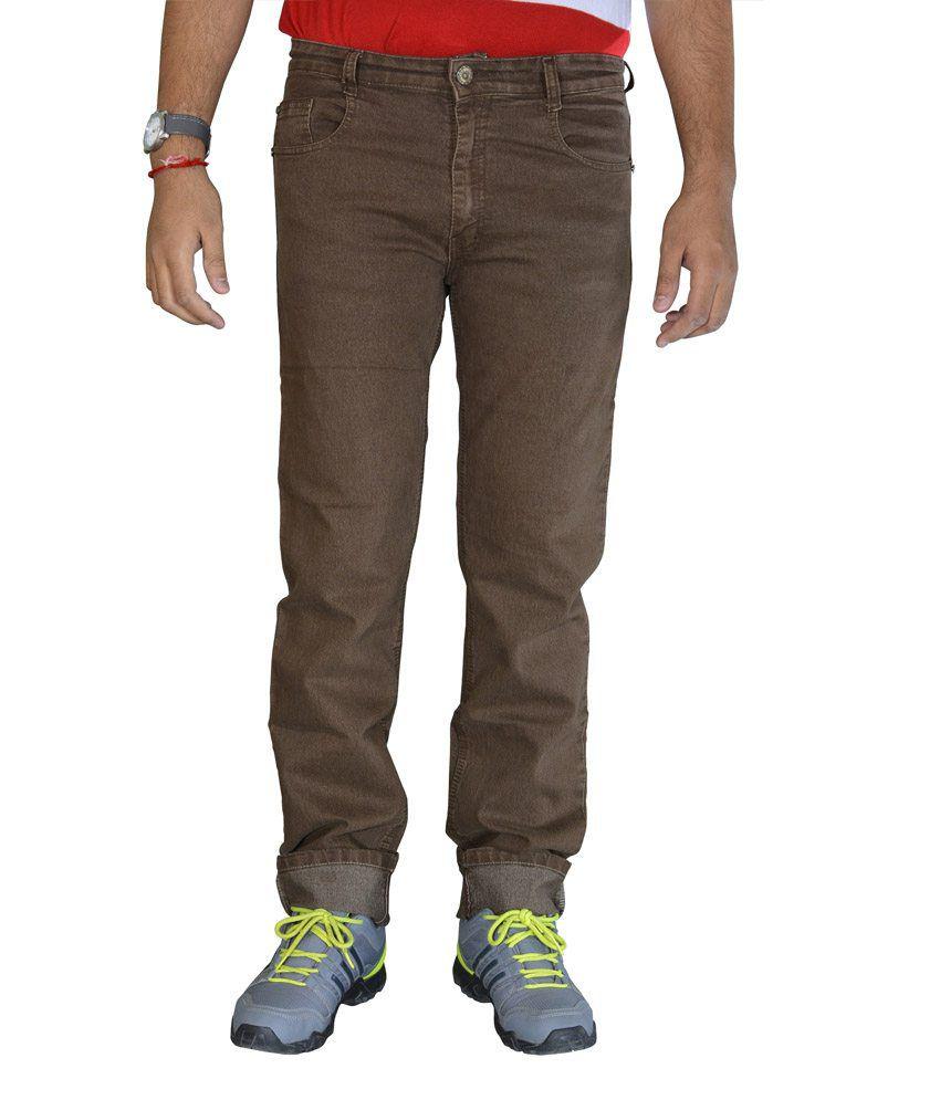 Studio Nexx Light Brown Regular Fit Stretch Men's Jeans