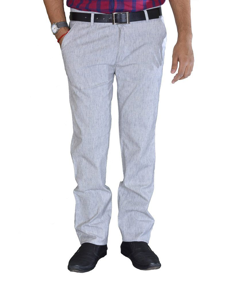 Studio Nexx Light Gray Textured Cotton Men's Trouser