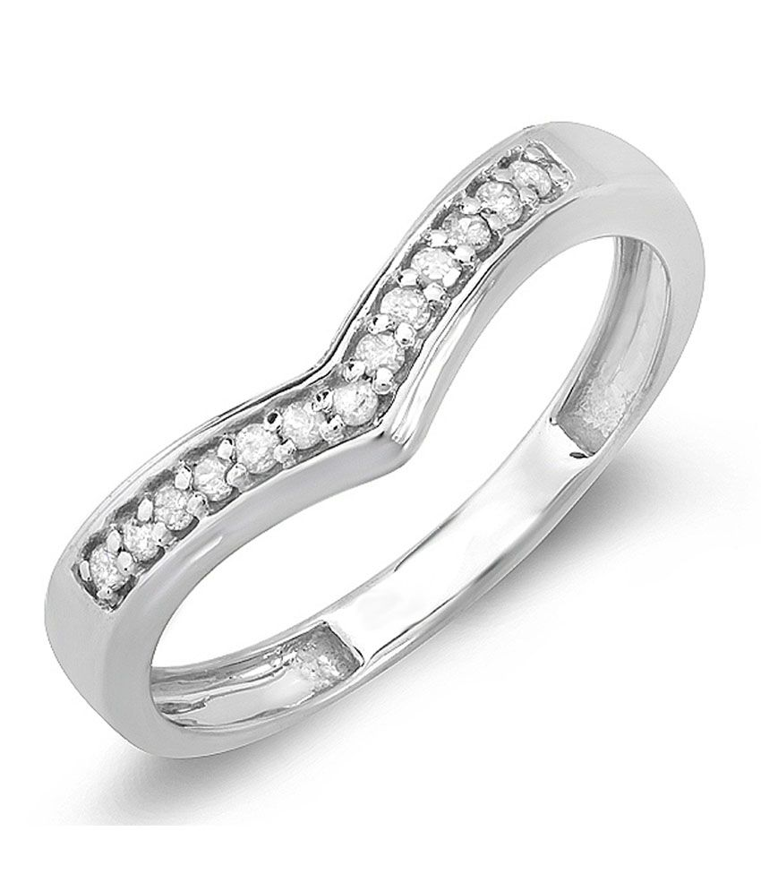 0.15 Carat (ctw) Sterling Silver White Round Real Diamond Wedding Stackable Band Anniversary Guard Chevron Ring
