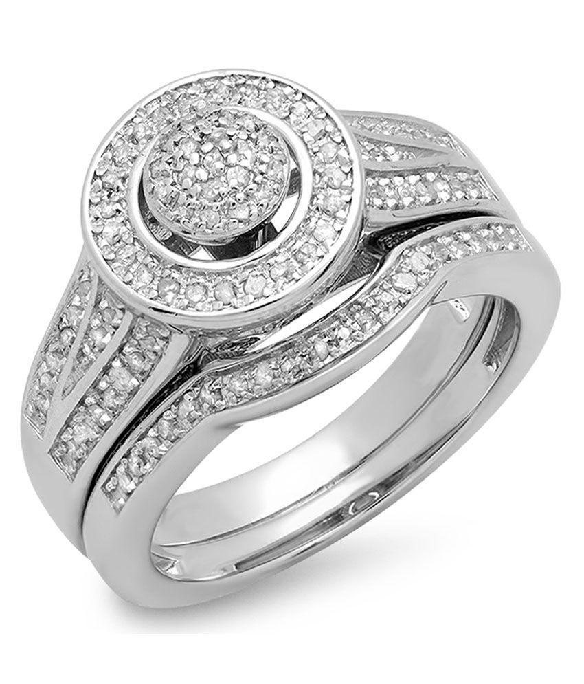 0.50 Carat (ctw) Sterling Silver Round White Diamond Ladies Split Shank Bridal Engagement Ring Set Matching Wedding Band 1/2 Ct