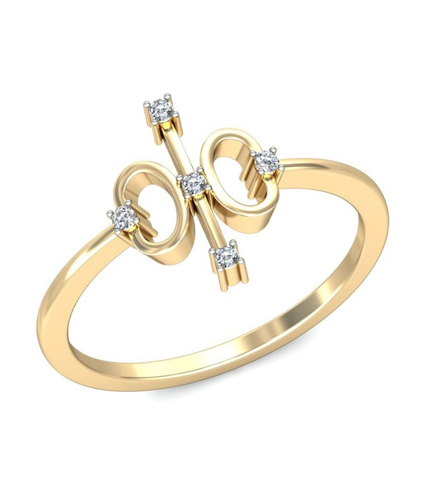 Jewelsnext 18kt Pure Gold Contemporary Elle Diamond Ring
