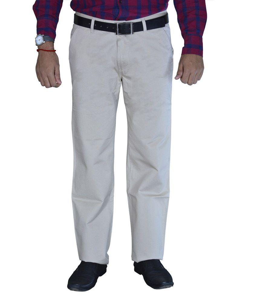Studio Nexx Light Beige Cotton Chinos Men's Trouser