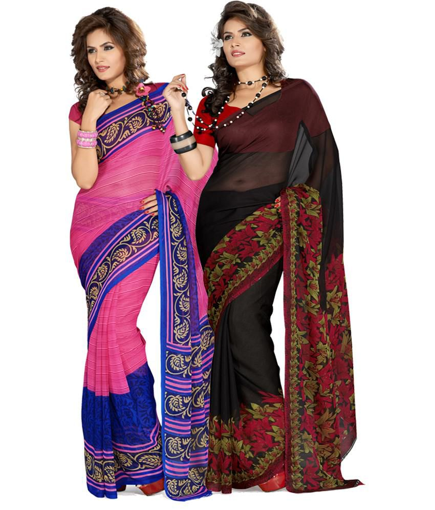 Ishin Georgette Saree With Blouse Piece (pack Of 2)