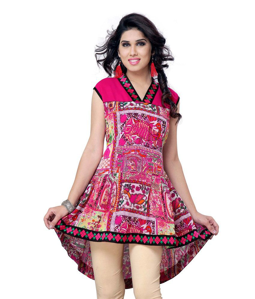 Miss & Mrs Multi Color Party Wear Cap Sleeve Printed Georgette Women's Kurti