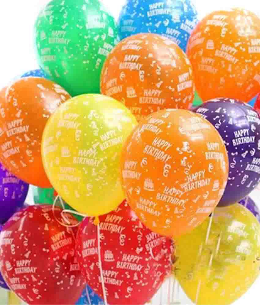 SNB Happy Birthday Printed Latex Balloons Pack Of 10