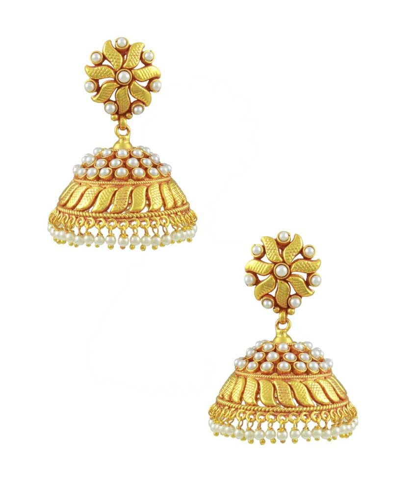 Orniza South Indian Style Pearl Jhumki Earrings