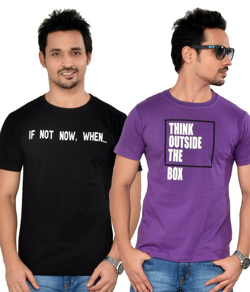 Tsg Escape Men's Printed Round Neck T-shirt-pack Of 2-c35-black & Light Purple Colour