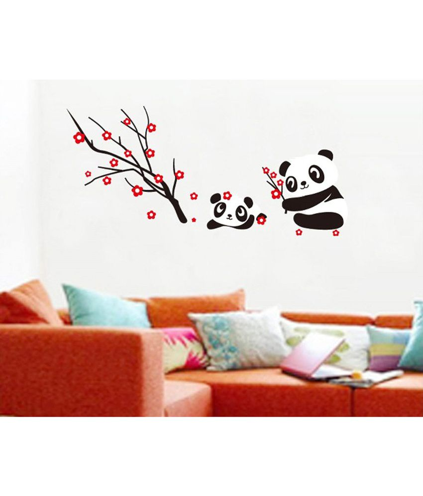 uberlyfe peel n 39 stick panda and red blossoming tree wall. Black Bedroom Furniture Sets. Home Design Ideas