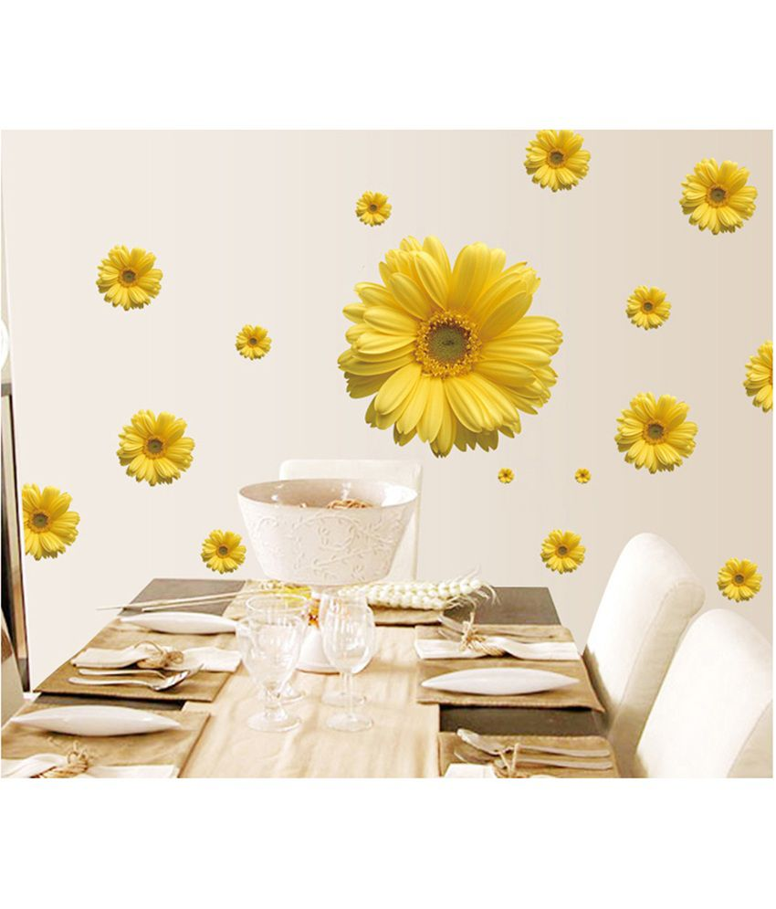 Uberlyfe Yellow Flowers Wall Stickers Home Decor (Size : 100cm x ...