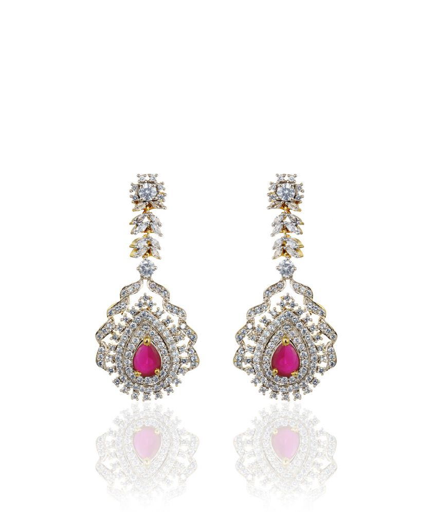 Alysa Red Chayanika Rhodium Plated Cz And Ruby Pushback Earrings