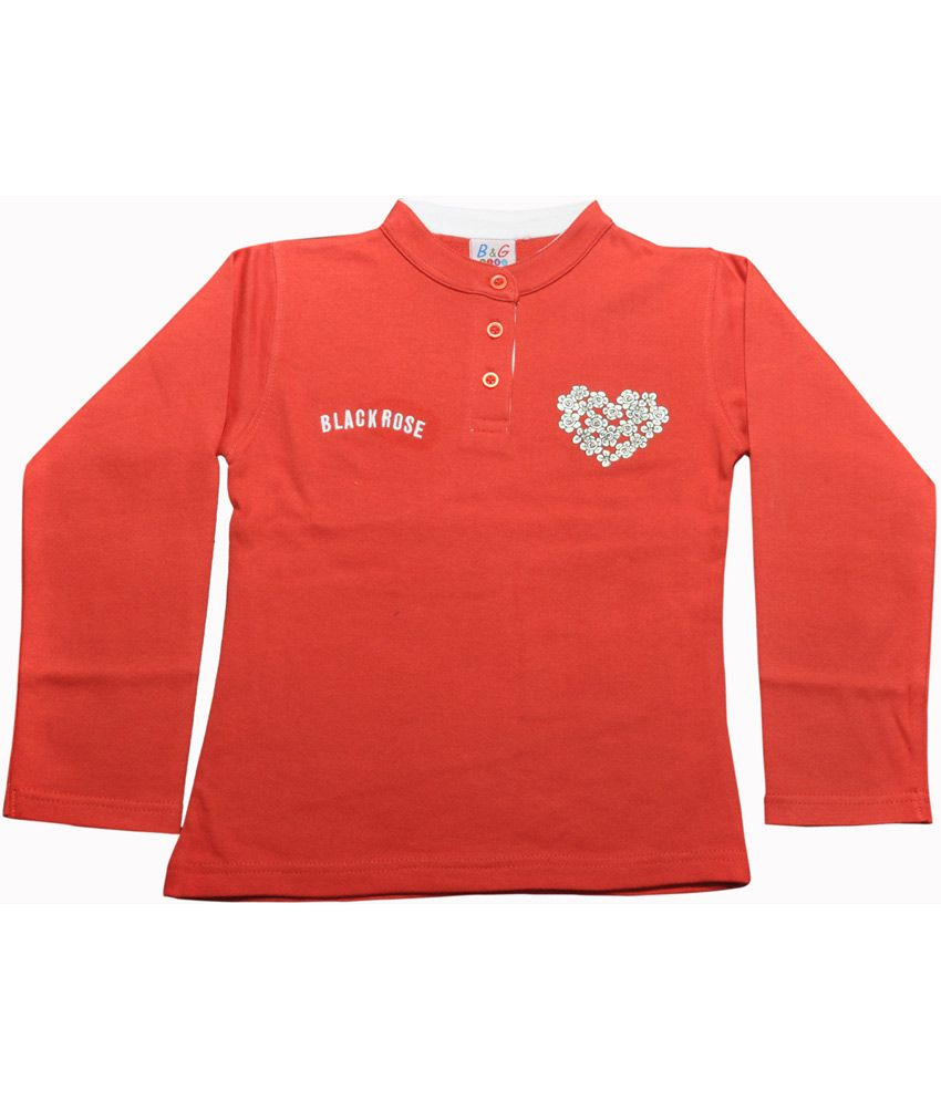 Bg Casual Red Cotton Chinese Collar Black Rose Girl's Full Sleeve Sweatshirt