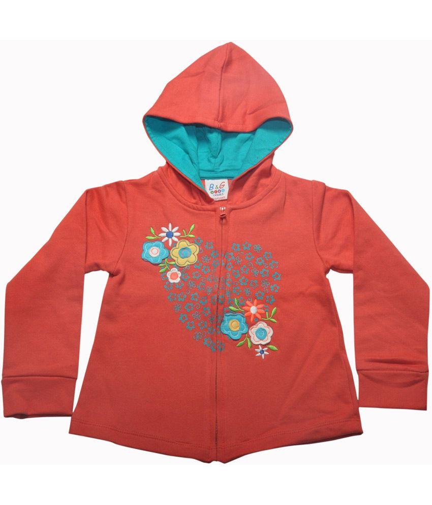 Bg Casual Red Cotton Flowers Emb & Heartin Printed Girl's Full Sleeve Hoody Sweatshirt