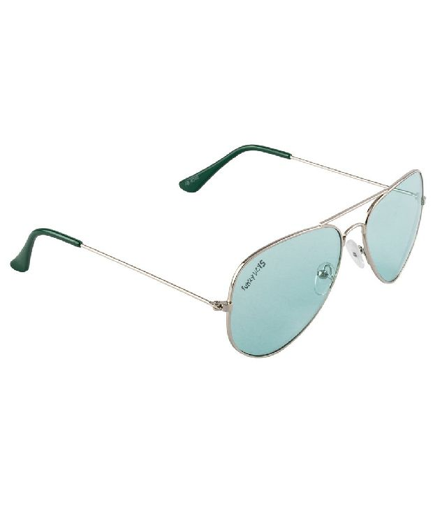 Funky Boys SOC-FB4040-C4 Gray/Green Aviator Sunglasses
