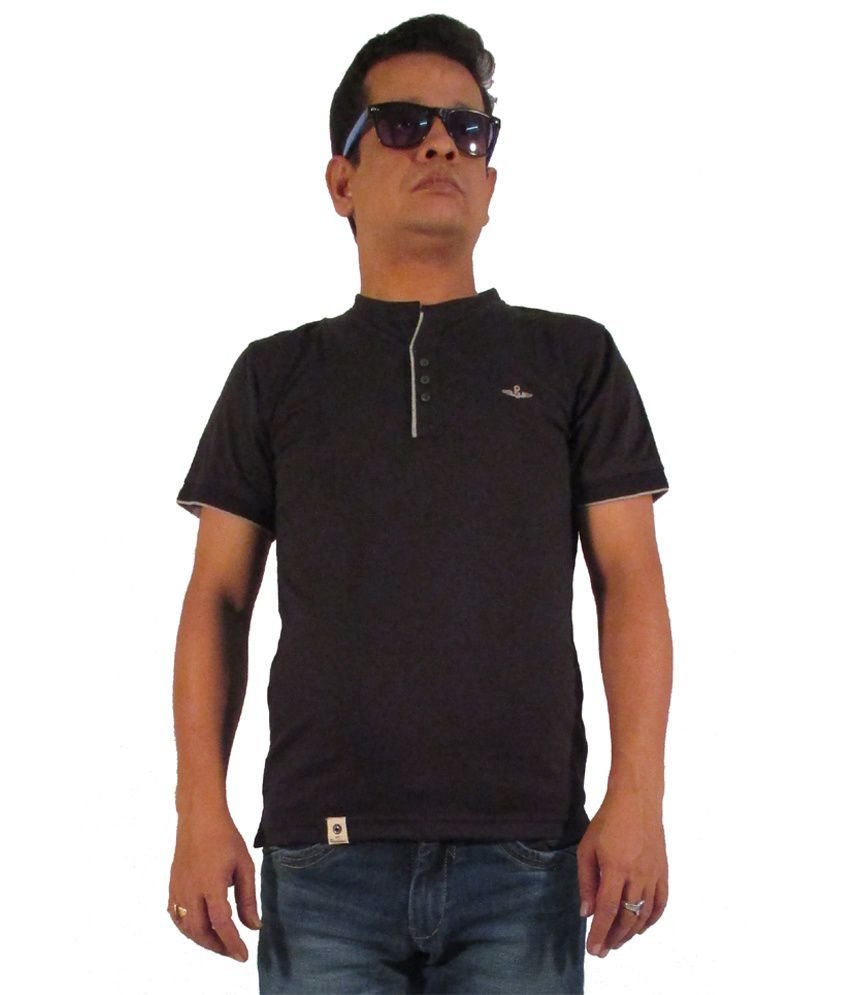Gj.co-92 Black Cotton Blend T Shirt