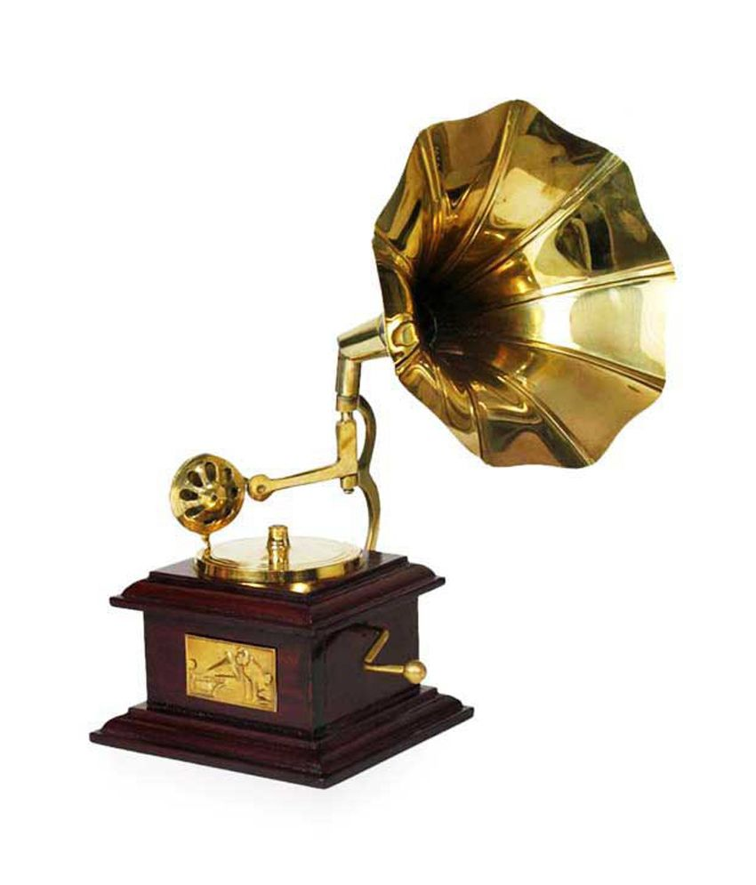 Design hut home decor brass showpiece gramophone for Home decor stuff