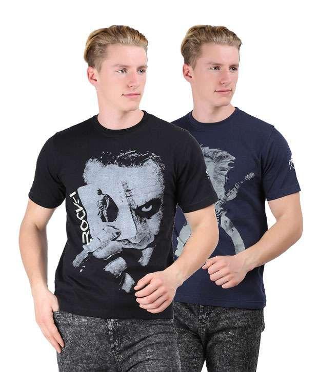 Rock I Mens Fashion Printed T Shirt Pack Of 2 Combo 10