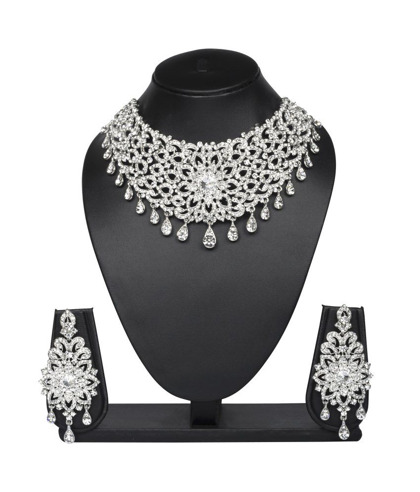 Vk Jewels Drops Rhodium Plated Necklace Set