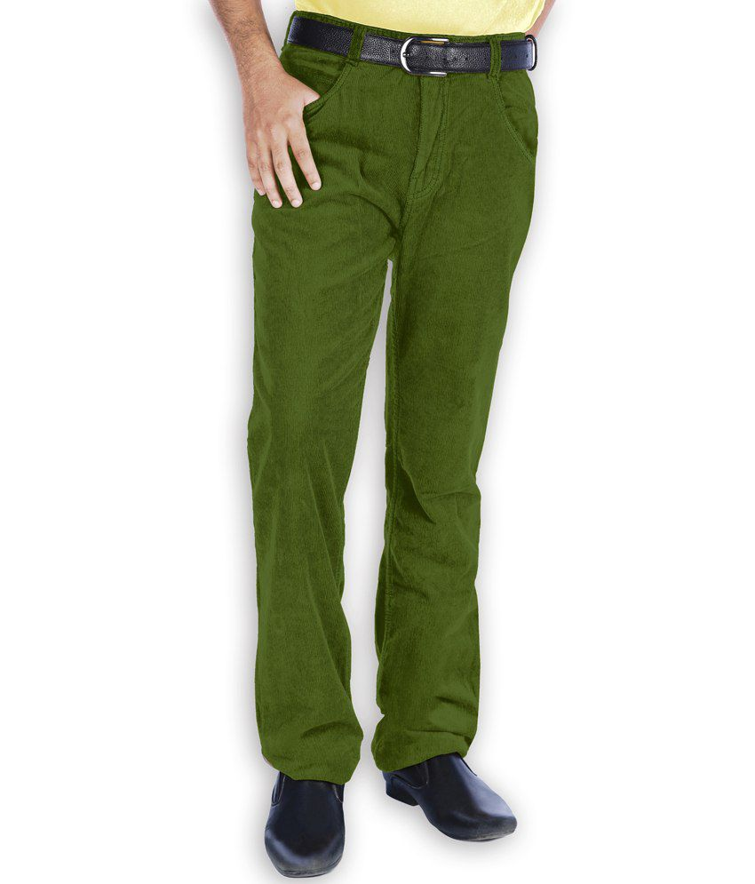 Uber Urban Green Corduroy Semi Formal Trouser