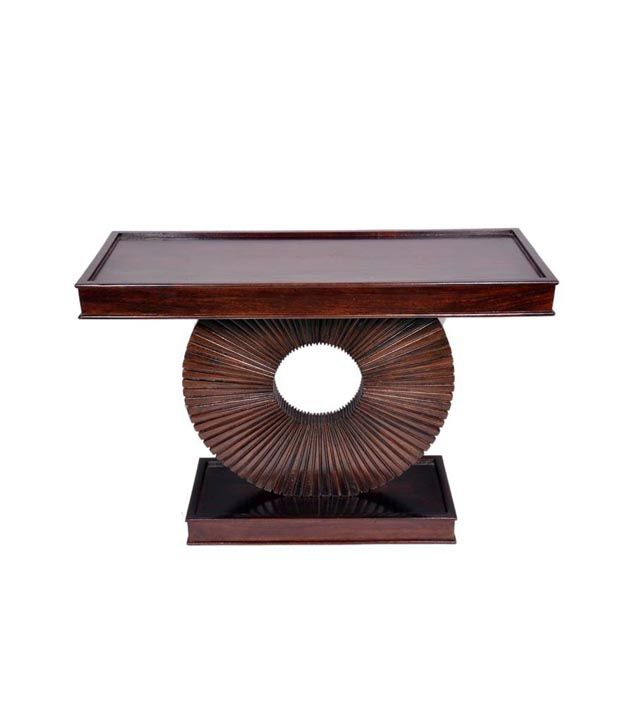 Ethnic Handicrafts Console Table In Walnut Finish