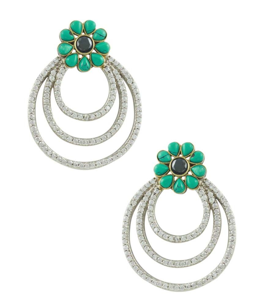 Orniza Chand shaped Victorian Earrings in Turquoise Color