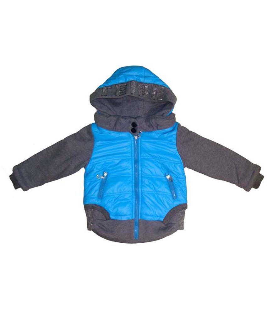 Bodingo Blue Synthetic Full Sleeve With Hood Padded Jacket For Girls