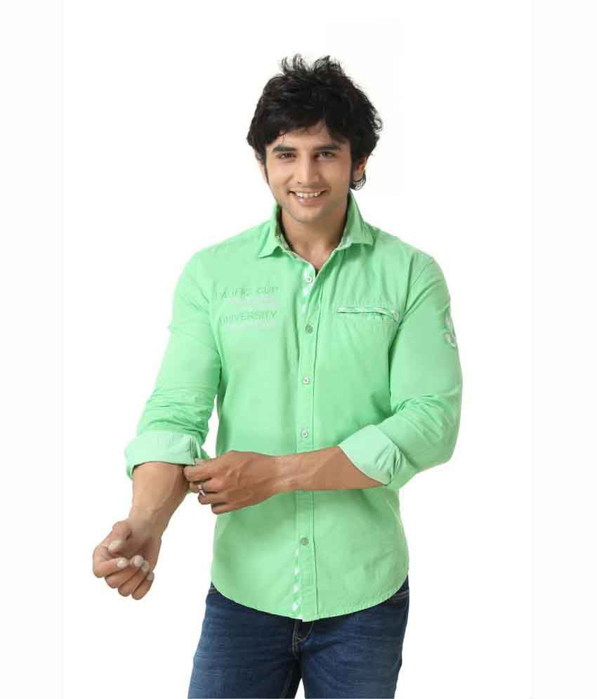 Zorro Designer Men Shirt Plain Casual Wear Cotton Green