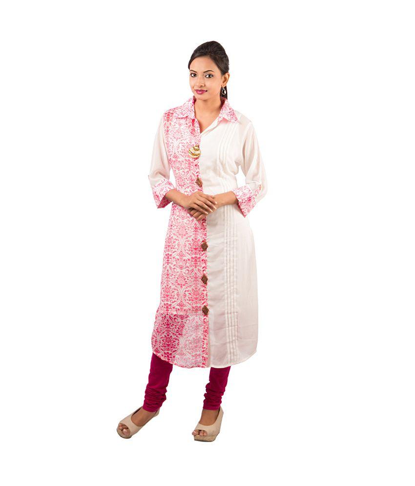Piya Bawari Pink Printed Gorgette Collar Neck 3/4th Sleeves Long Kurti