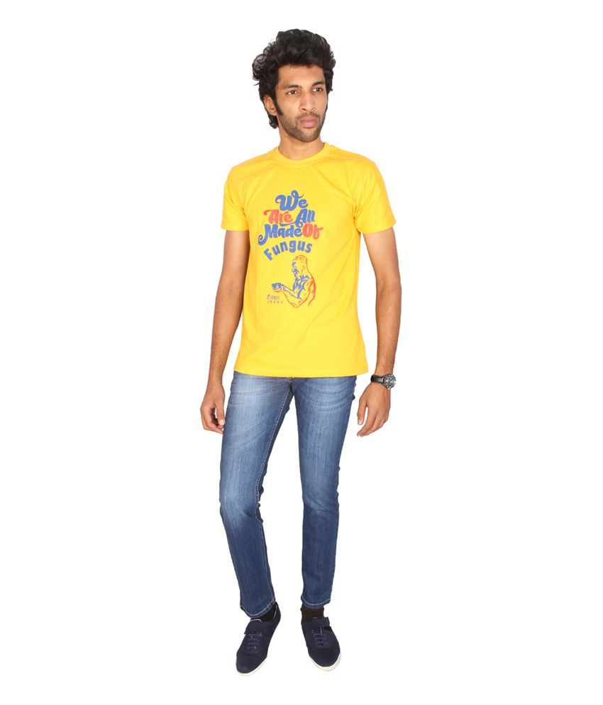 Fungus Yellow Printed Cotton Round Neck T-shirt
