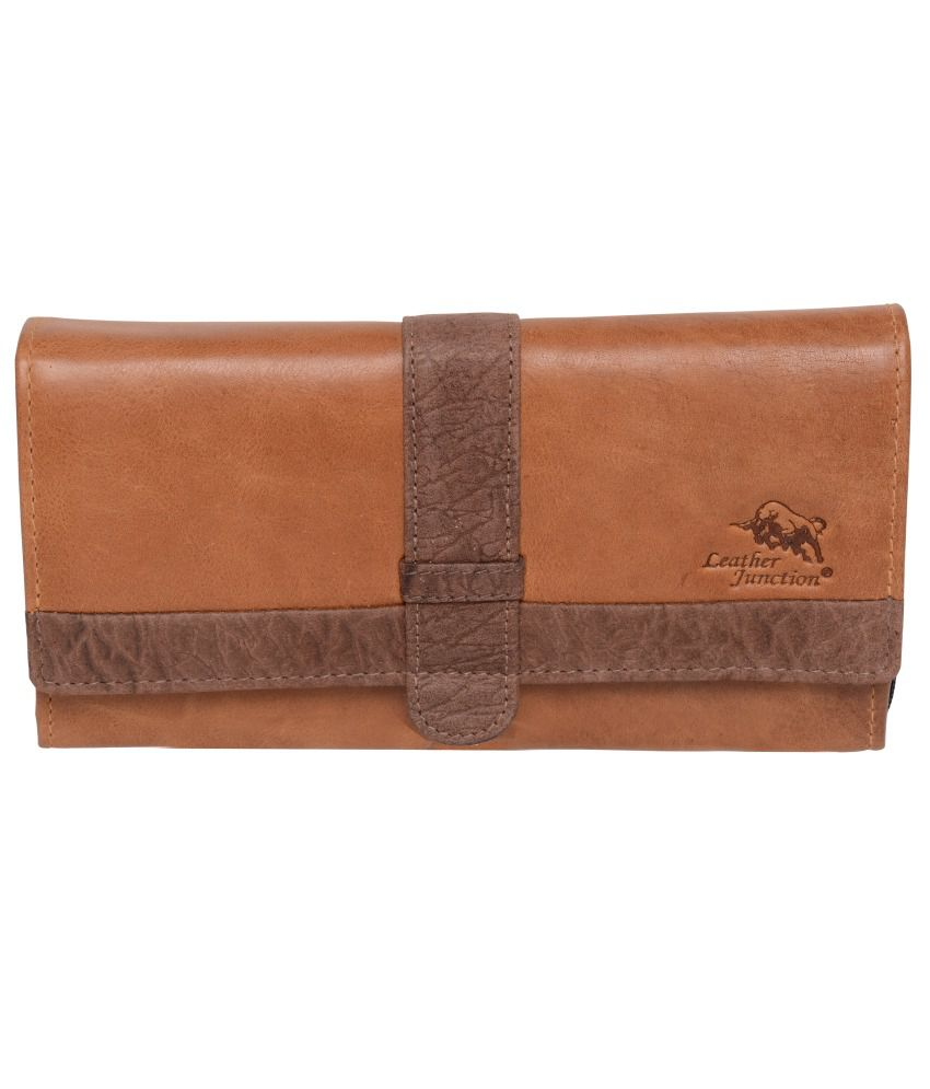 Leather Junction Tee Wallet Cognac