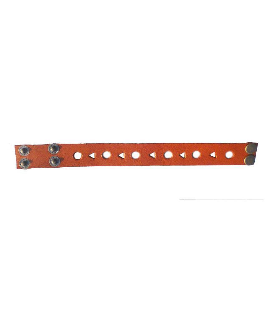 Saddlekingpro Tan Faux Leather Party Wear Bracelet