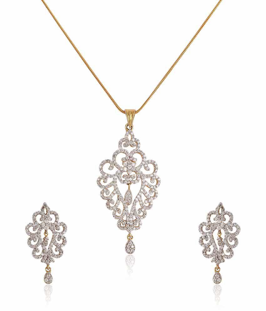 6ce278e3d Aadvika Silver Style Diva American Diamond Dailywear Pendant Set: Buy  Aadvika Silver Style Diva American Diamond Dailywear Pendant Set Online in  India on ...