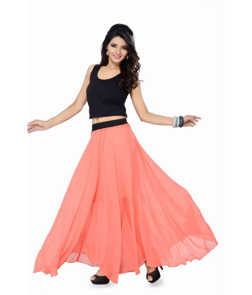 Buy Ishin Peachpuff Georgette Skirts Online at Best Prices in ...
