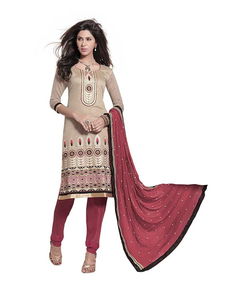 Kvsfab Beige Embroidered Chanderi Dress Material
