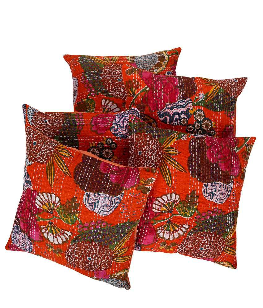 Rajrang  Fruit Print With Kantha Cushion Covers - (16 X 16 Inches) (Set of 5 Pcs)