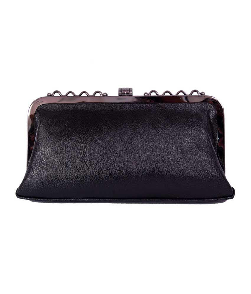 Womaniya Black P.u. Velcro Clutch