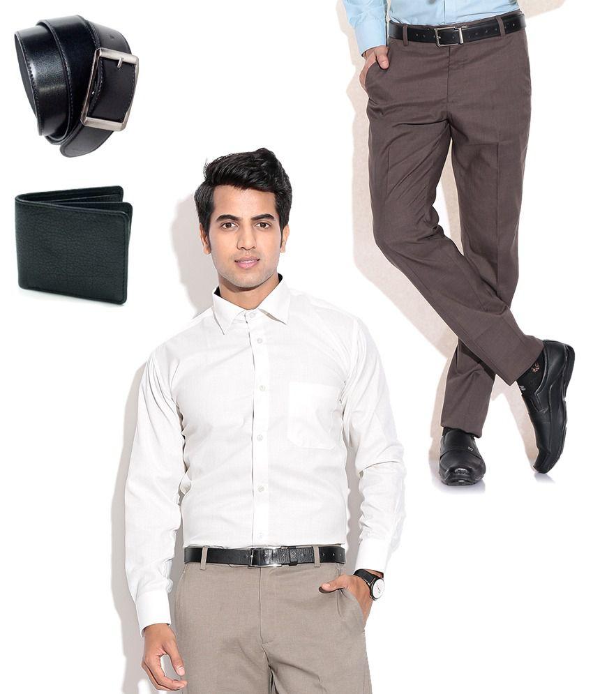 Fizzaro Amazing Combo of Brown Formal Trouser, Shirt, Belt & Wallet
