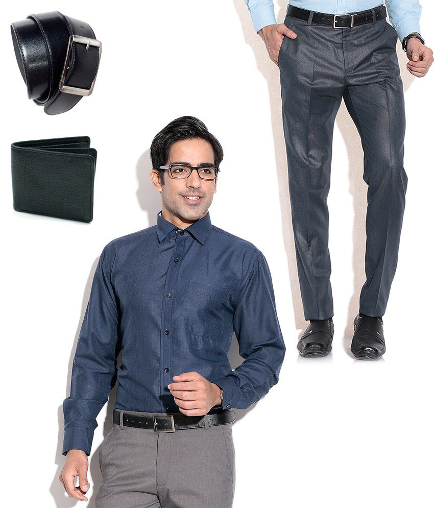 Fizzaro Appealing Combo of Formal Trouser, Shirt, Belt & Wallet