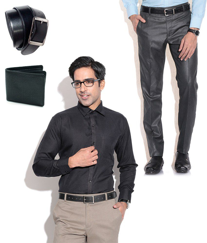Fizzaro Combo of Black Formal Trouser, Shirt, Belt & Wallet